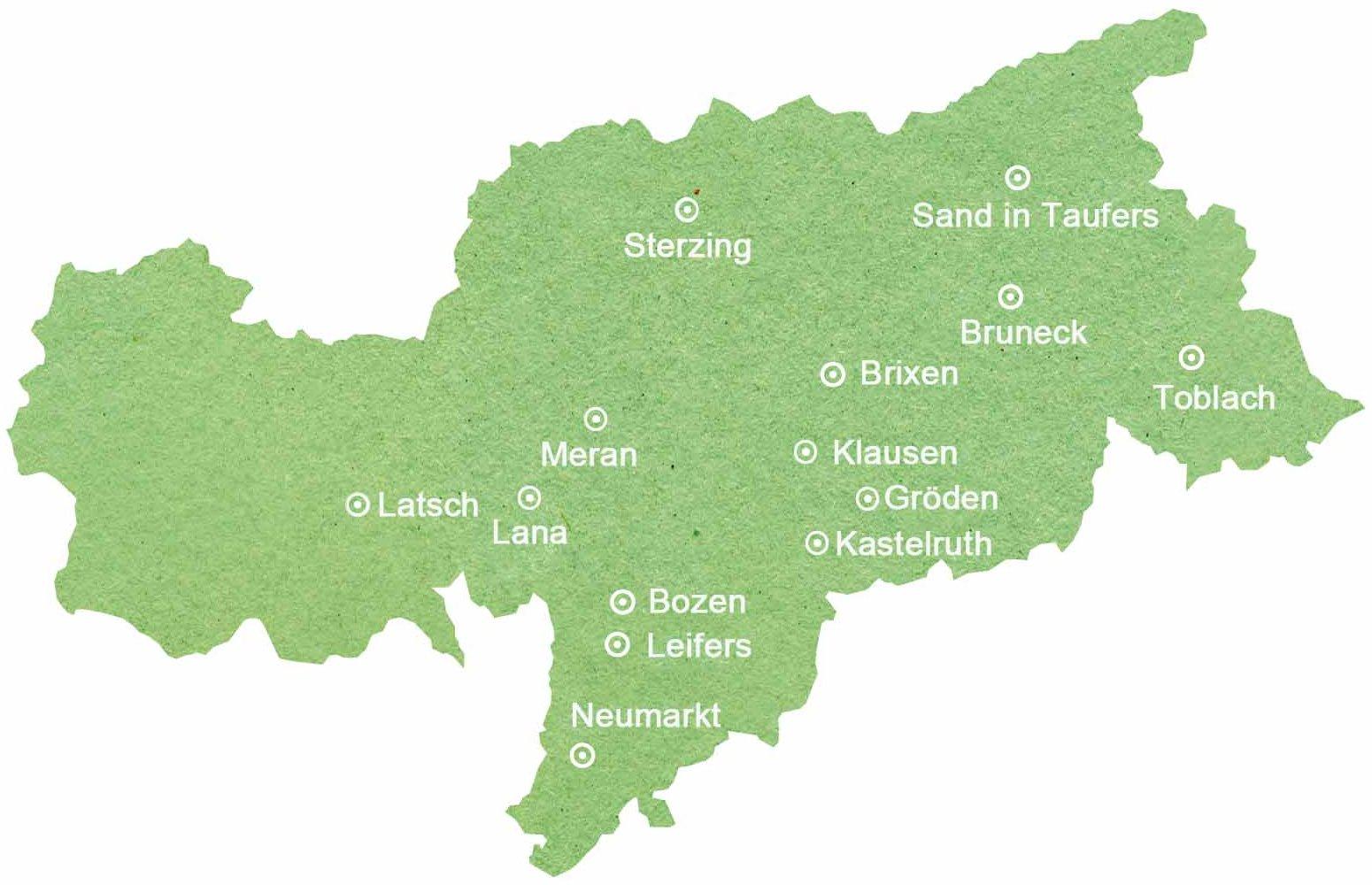 Übersichtskarte über die Weltläden in Südtirol